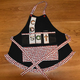 Show and Tell Apron (black with red and white ladybug trim)