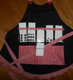 Show and Tell Apron (black with red gingham and swirls)