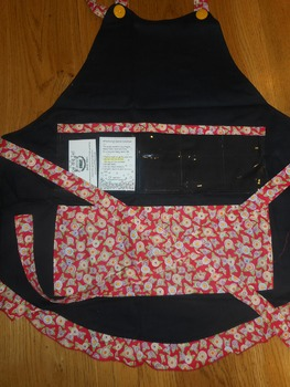 Show and Tell Apron (black with red/yellow floral)