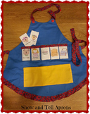 Show and Tell Apron (blue apron with solid yellow pocket)
