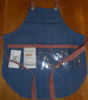 Show and Tell Apron (child's apron jean wit rust colored gingham)