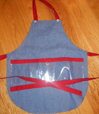Show and Tell Apron (child's apron/jean with red)