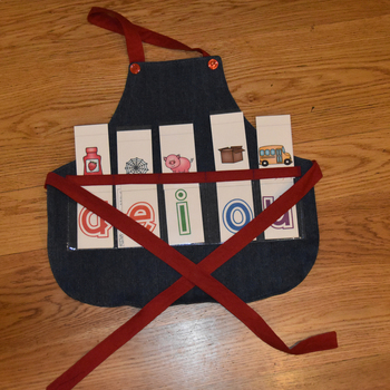 Show and Tell Apron (child's apron denim with red trim)