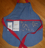 Show and Tell Apron (child's apron/jean with tiny red polkas)