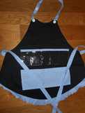 Show and Tell Apron (black with baby blue fun dot trim)