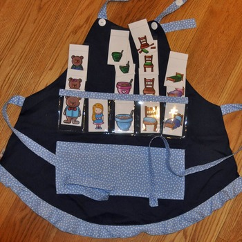 Show and Tell Apron (navy apron with baby blue fun dot trim)