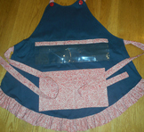 Show and Tell Apron (navy with red polka)