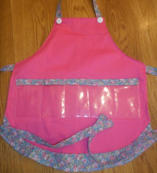Show and Tell Apron (pink with blue floral)