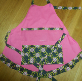 Show and Tell Apron (pink with pink roses on black)