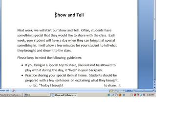 Show and Tell Informational Letter