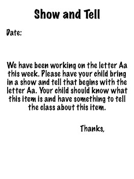 Show-and-Tell Letters