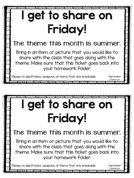 Show and Tell- Monthly Sharing Cards