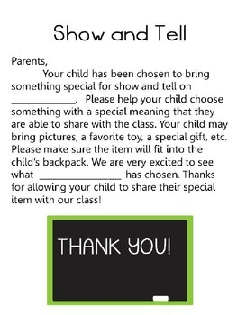 Show and Tell Note