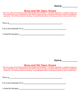 Show and Tell Note and Prompt (nouns)