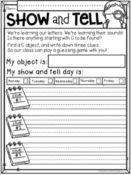 Show and Tell Notes for Letter of the Week Series