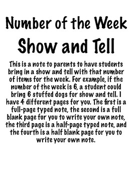 Show-and-Tell Numbers