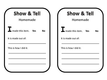 Show and Tell Prompt Cards - Weekly Themes