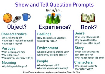 Show-and-Tell Question Prompts