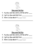 Show and Tell Slips