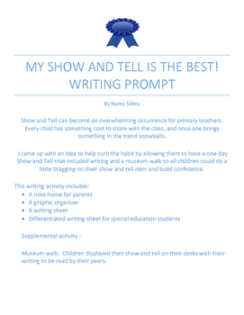 Show and Tell Writing Prompt & Graphic Organizer - Differentiated