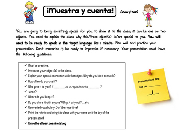 Show and Tell in Spanish. Muestra y cuenta!