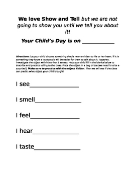 Show and Tell take home letter by More Honey Pleasers