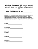 Show and Tell take home letter