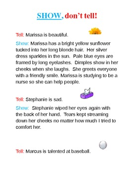 Show, don't tell character description samples and worksheet