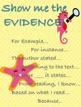 Show me the Evidence Anchor Poster for Writing