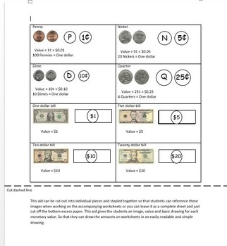 Show me the money worksheets + money manipulatives and desk aid