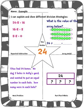 Show multiple strategies with division and multiplication.