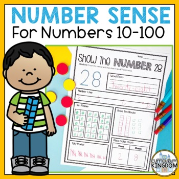 Number Sense and Place Value to 100 Number of the Day Worksheets 1st Grade