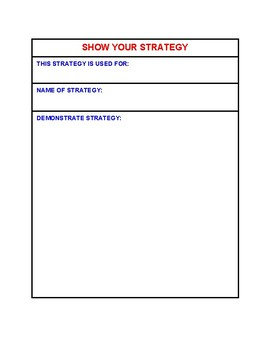 Show your strategy graphic organizer