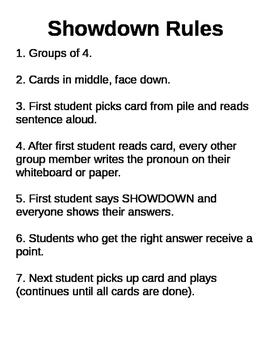 Showdown Rules - A Pronoun Game