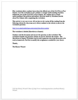 Showdown at Fort Sumter Civil War Worksheet: Great Reading/Worksheet