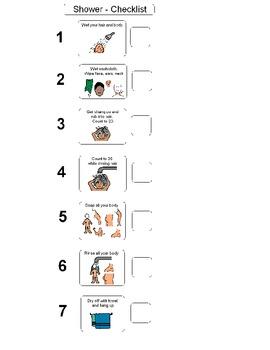 Shower Checklist for boys