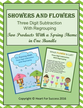 Showers and Flowers Bundle (Three Digit Subtraction With Regrouping)