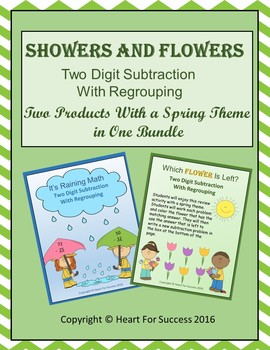 Showers and Flowers Bundle (Two Digit Subtraction With Regrouping)