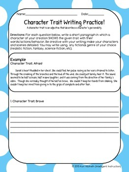 Showing Character Traits Using Descriptive Writing: Student Practice Page