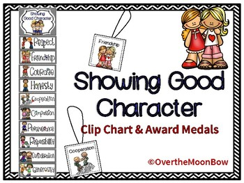Showing Good Character Clip Chart & Award Medals | Black Chevron