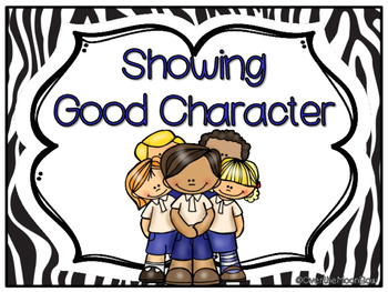 Showing Good Character Clip Chart & Brag Tags | Black Zebra Stripe