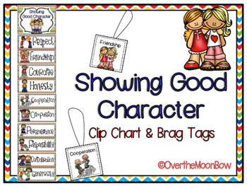 Showing Good Character Clip Chart & Brag Tags | Rainbow Chevron