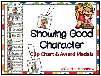 Showing Good Character Clip Chart & Brag Tags | Rainbow Polka Dot