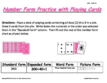 Showing Numbers in a Variety of Ways Center Using Playing Cards CCSS 2.NBT.A.1