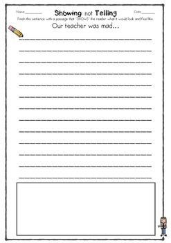 Showing not Telling Activity - Printable - Fun