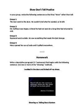 Showing vs. Telling in Writing Worksheet