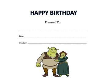 Shrek Birthday Certificates (Includes 3 Certificates)