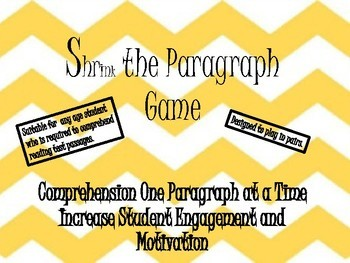 Shrink the Paragraph Main Idea Comprehension Game