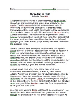 Shrouded in Myth Chunked St... by Militello Creations | Teachers ...