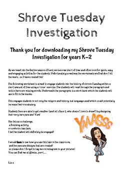 Shrove Tuesday Investigation K-2